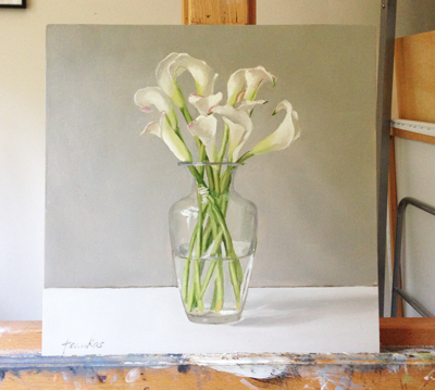 Valla Lilies in Jean's Vase, painting by Linda Tenukas