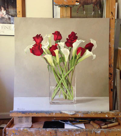 Callas and Red Rose, painting by Linda Tenukas